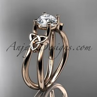 14kt rose gold diamond celtic trinity knot wedding ring, engagement ring CT7130