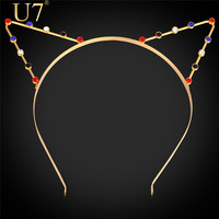 U7 Sexy Cat Ear Hair Band Fashion Gold HairWear 18K Gold /Platinum Plated Rhinestone Hair Jewelry For Party Gift F301