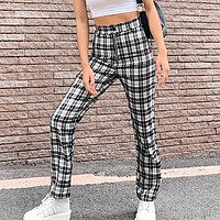 New fashion autumn and winter retro high waist wild casual plaid trousers pants women
