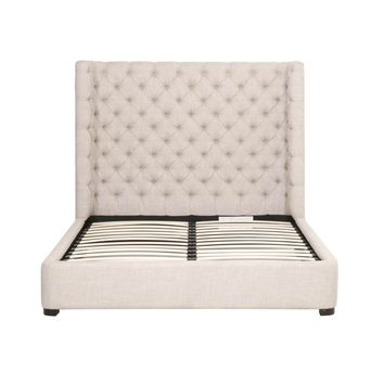 Barclay Queen Bed Bisque French Linen, Espresso