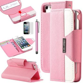 iPhone 5 Case, iPhone 5S Case,SE Case,5S Case,ULAK Synthetic Leather+Magnetic Clip Case Folio Style Wallet Case for Apple iPhone SE/5S/5 (Pink+White)