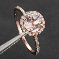 7mm Round Morganite Ring .27ct Pave Diamond Halo Engagement Ring Claw Prongs in 14K Rose Gold/White Gold/Yellow Gold