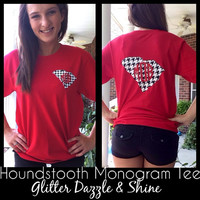 Houndstooth State Monogram Shirt- Available for ALL states
