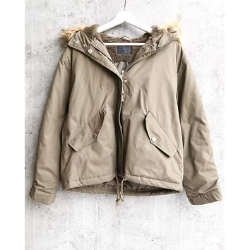 Final Sale - L.A. Weather Fuzzy Lined Hooded Jacket in Olive