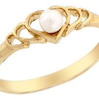14k Solid Yellow Gold Freshwater Cultured Pearl Heart Promise Ring Jewelry