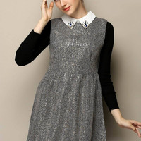 Gray Pointed Flat Collar Embroidery Long Sleeve High Waist Pleated A-Line Mini Dress