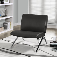 Charcoal Grey Leather-Look/Chrome Metal Accent Chair