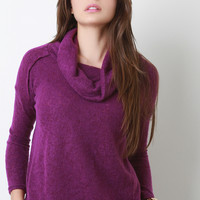 Soft Knit Cowl Neck Sweater Top