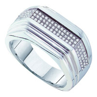 Diamond Micro Pave Mens Ring in 10k White Gold 0.3 ctw