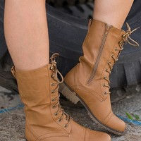 Natures Breeze Bet Your Boots Combat Boots - Tan