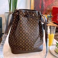 LV canvas embroidery jacquard logo drawstring bucket bag shoulder messenger bag