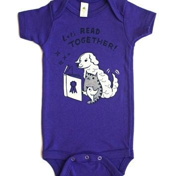 SALE: Let's Read Together Organic Baby Onesuit (Grape)