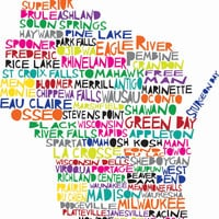 WISCONSIN Digital illustration Print of Wisconsin State with Cities Listed