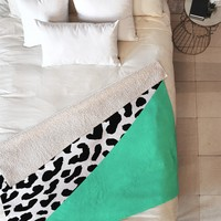 Rebecca Allen Leopard And Mint Fleece Throw Blanket