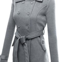 Lapel Double Breasted Slim Long Coat with Belt On