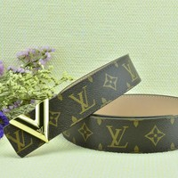Cheap Louis Vuitton Woman Men Fashion Smooth Buckle Belt Leather Belt for sale q_2291738334_075