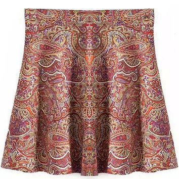 Printed Mini Skater Skirt
