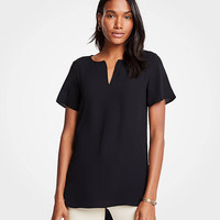 Mixed Media Split Neck Top | Ann Taylor
