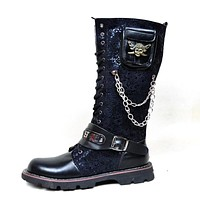 Black Army Gothic Boots Men Military Combat Metal Skull Buckle