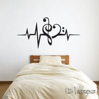 Heartbeat music note wall decal, music wall decal, dorm room decor, bedroom wall decal, living room wall decal, teen room decor, heart decal