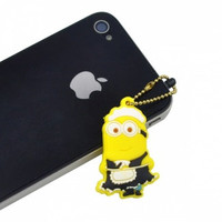Despicable Me Movie Minion Dust Plug for iPhones, Tablets, Earphone Jack Outlets and More! Character Phil in Maid Outfit