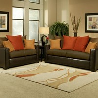 A.M.B. Furniture & Design :: Living room furniture :: Sofas and Sets :: Sofa Sets :: 2 pc Allure two tone chocolate padded microfiber suede and leather like vinyl upholstery sofa and love seat set