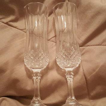 Cristal d' Arques ChampagneToasting Flutes. Wedding Toasting Crystal Champagne Glasses, Elegant French Crystal Champagne Flutes