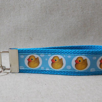 Keychain Wristlet Made With Rubber Duck Inspired Ribbon
