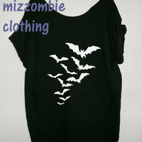 Bat T-Shirt - Vintage inspired  Horror Bats   Tshirt, Off The Shoulder, Over sized,   loose fitting, graphic tee,  halloween  costume idea