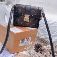 """Louis Vutitton"" Retro Fashion Letter Logo Print Single Shoulder Messenger Bag  Women Lock Buckle Handbag"