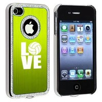 Apple iPhone 4 4S 4G Green S1883 Rhinestone Crystal Bling Aluminum Plated Hard Case Cover Love Volleyball
