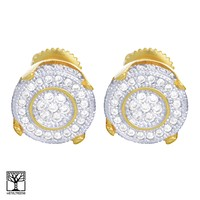 Jewelry Kay style Men's 14k Gold Plated Icy 3D Double Round Screw Back Stud Earrings BE 021 TT