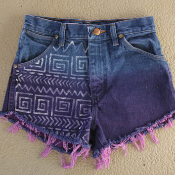 Purple Aztec High Waisted Shorts
