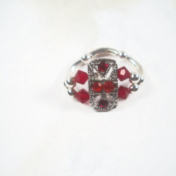 Beaded Ring Red Crystal Ring