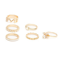 Love and Pearls Stacking Rings Set of 6