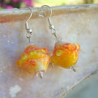 Lampwork Earrings Summer Fashion Bright Citrus Colors Iced Orange Juice Cool Lampwork Jewelry for Her
