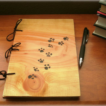 Animal Paw Print Journal - Notebook Wood Burnt -Custom Cover Work