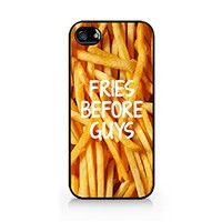 Fries Before Guys - White - French Fries - Fast Food - Sassy Quote - iPhone 4/4S Black Case (C) Andre Gift Shop