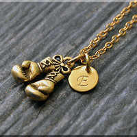 Gold Boxing Gloves Charm Necklace, Initial Charm Necklace, Personalized Jewelry, Boxing Pendant, Monogram Fighter Charm Necklace