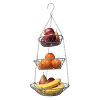 Evelots 3 Tier Hanging Fruit Basket, 26 Inches Long, Silvertoned, Round