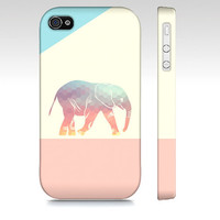 Cute Colorful Geometric Elephant - Premium Slim Fit Iphone 4 and 4s Case - Elephant Iphone Case - Available for Iphone 5 & Samsung Galaxy S3