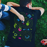 Space Play Mat Tshirt [XL] Easter Gift for Him from Son from Daughter New Dad Shirt Outer Space Back Massage Car Shirt from Kids