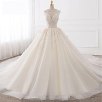 Sexy Backless A Line Lace Royal Train Tulle Bride Wedding Dress