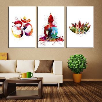 Watercolor Art 3 Panel Buddha Wall Art Canvas Print Buddha Om Symbol Watercolor Large Buddha