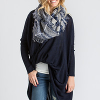 Jenny Blue Plaid Circle Scarf
