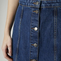 MOTO Button Front A-Line Skirt - Topshop