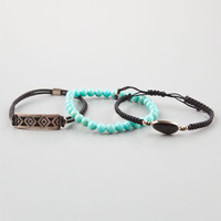 Full Tilt 3 Pack Turquoise/Stone/Bar Bracelets Black Combo One Size For Women 24632914901