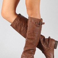 Double Buckle Boots - Tan
