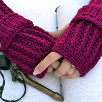 Boysenberry crochet  arm warmers, fingerless gloves ribbed with wrist strap and buttons