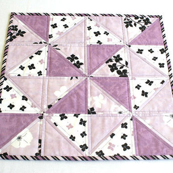 Quilted Table Topper, Candle Mat, Black White Lavender, Floral Table Quilt, Summer Table Topper, Quiltsy Handmade